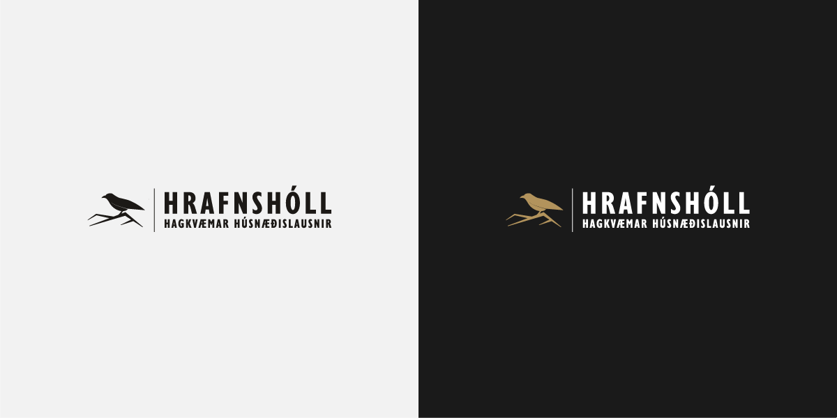 showcase of hrafnsholl logo in black and white