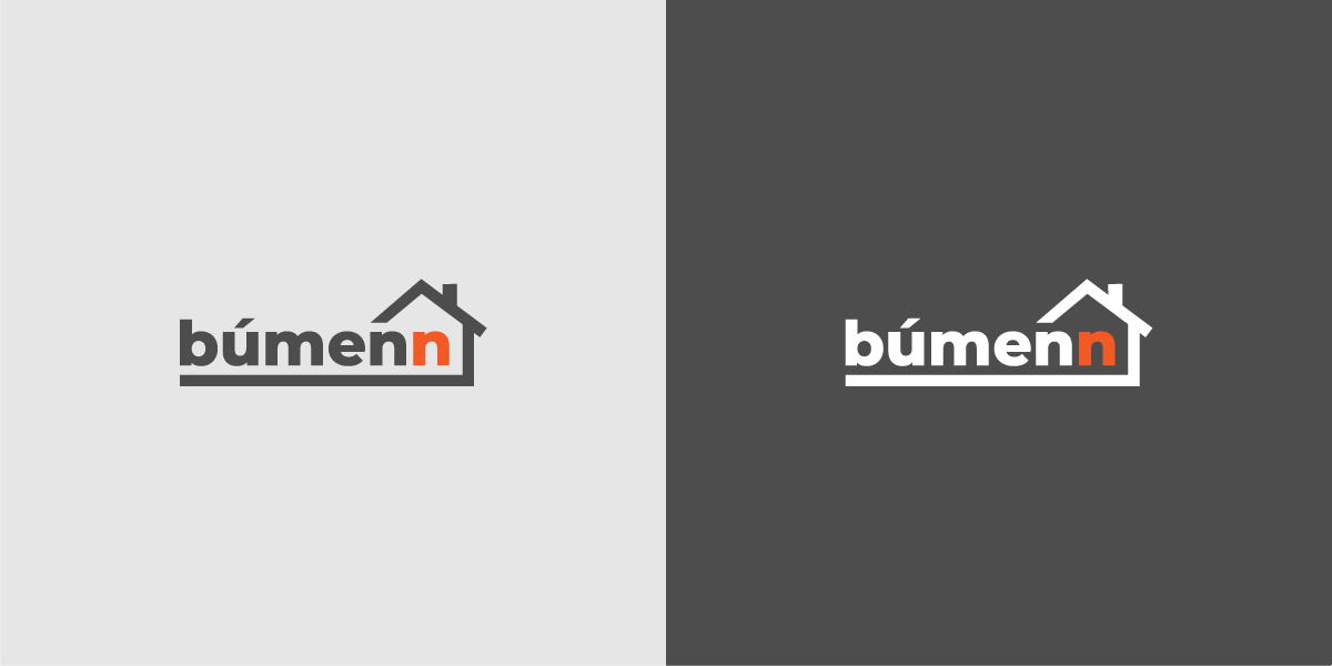 a showcase of bumenn's logo in two tones of gray